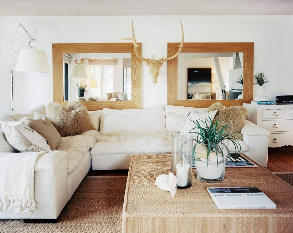 Attractive Square Mirror Wall Decor Ideas With Beige Wooden Frame Wall Mirror Also Cream Shag Further Cushion And White Fabric Loveseats Besides White Arc Floor Neutral Living Room Rustic Living Room