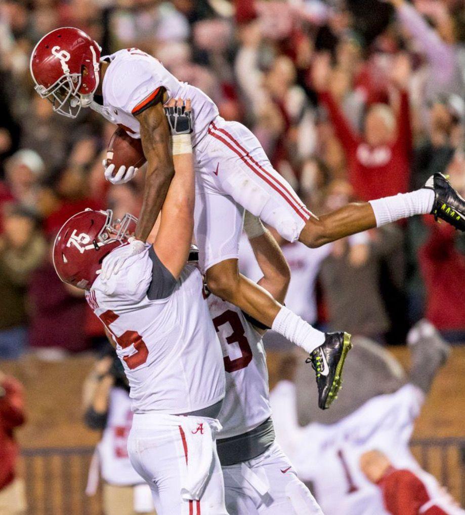 Alabama Wide Receiver Devonta Smith 6 Celebrates After Scoring The Eventual Game Winner Taking Crimson Tide Football Alabama Football Roll Tide Crimson Tide