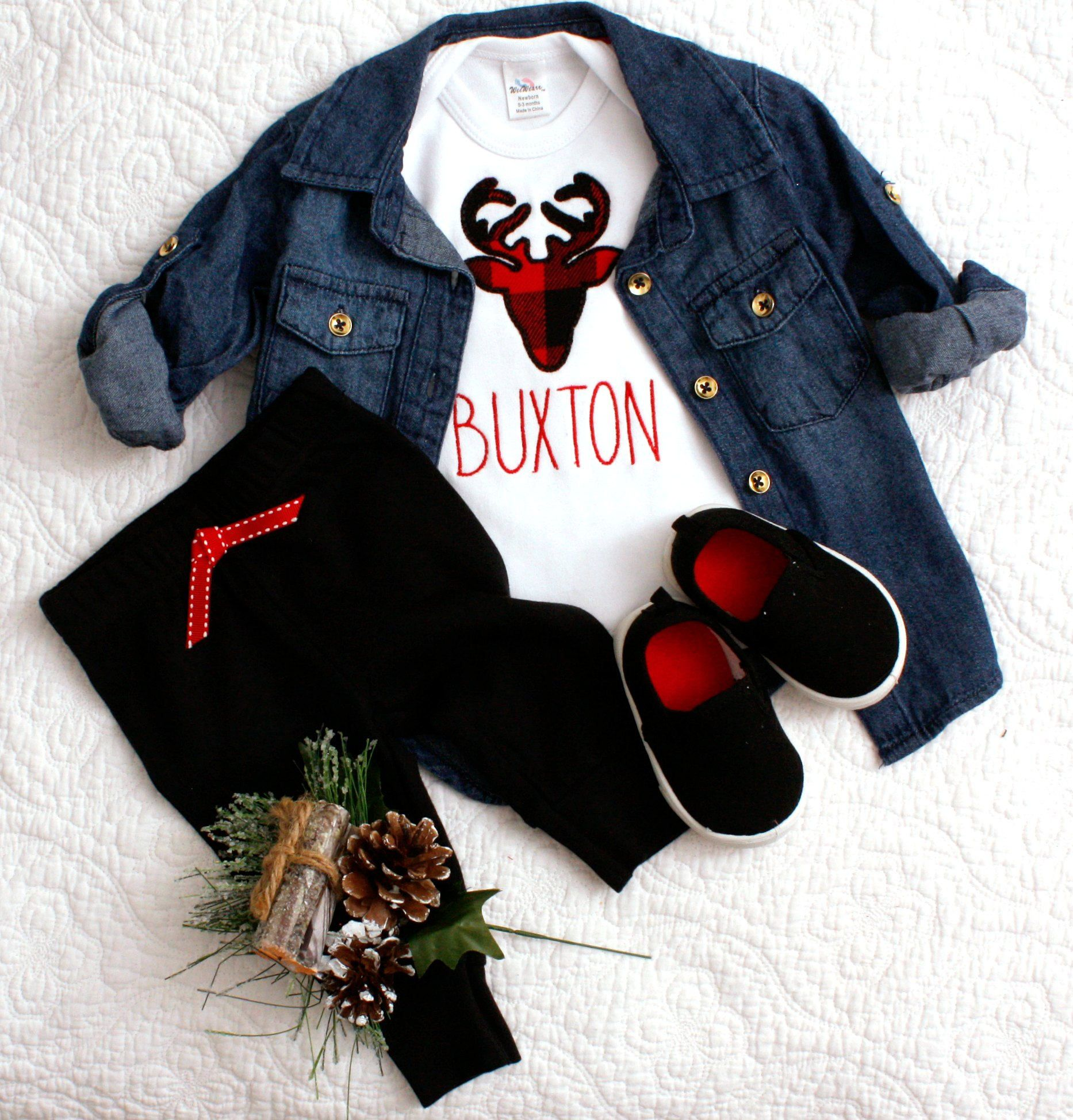 Christmas baby boy bodysuit personalized buffalo plaid ...