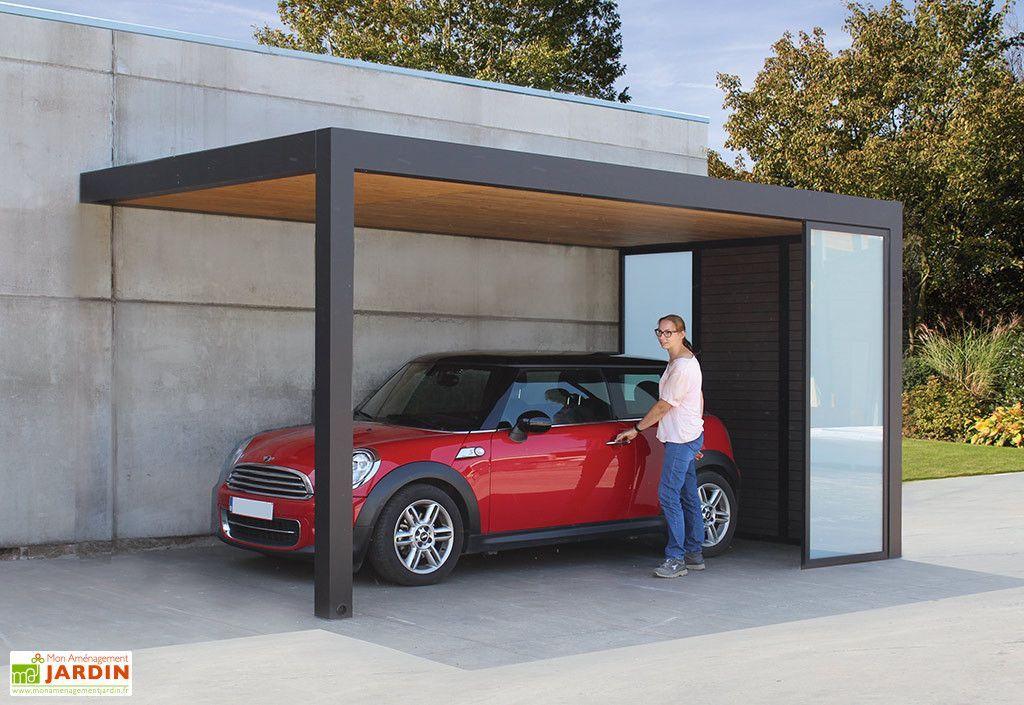 Carport Adossé en Aluminium, Bois, Composite et Verre