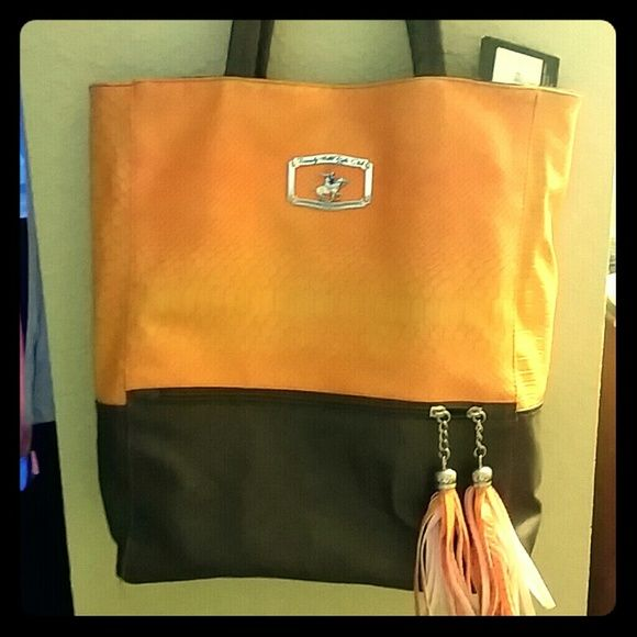 ffa526e590b Beverly Hills Polo Club Shoulder Bag NWT Orange Faux Snake skin top with  brown leather bottom