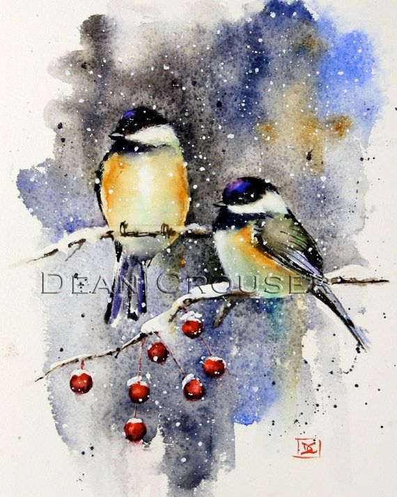 Winter Chickadee Aquarell Fine Art Print Vogel Malerei Von Dean