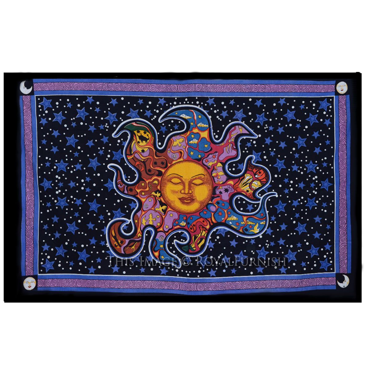 Decorative Wall Art Psychedelic Celestial Tapestry Sleeping Sun Wall Hanging