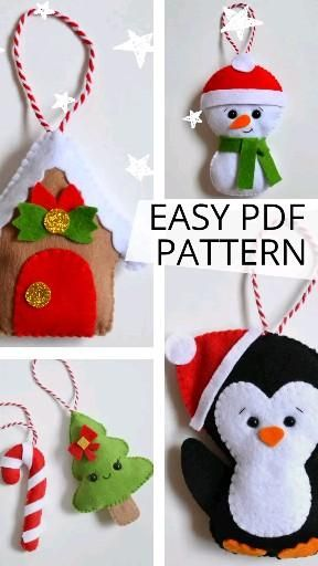 Christmas felt 6 PDF patterns, plush penguin snowm