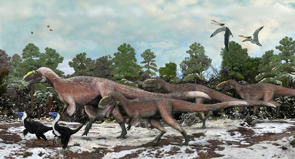 Пушистые тираннозавры Динозавры, Доисторический, Животные