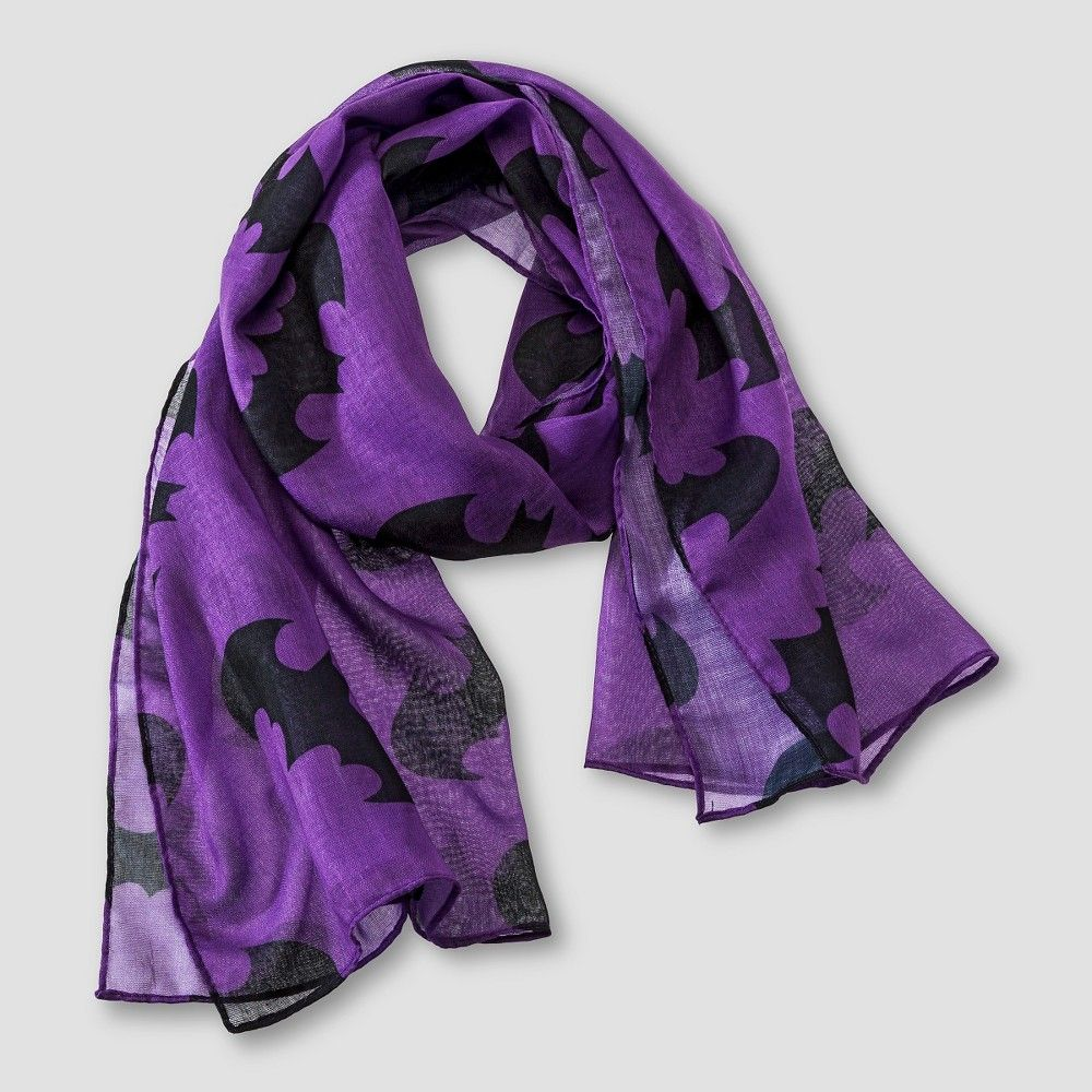 Batman Girls' Cold Weather Scarf - Black/Purple Green One Size Fits Most, Girl's