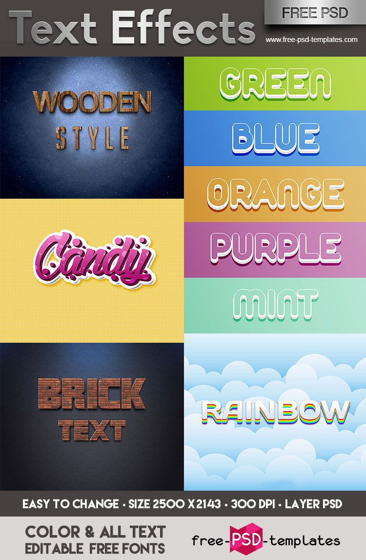 FREE Text Effects IN PSD on Behance | PhotoShop | Text effects, Free
