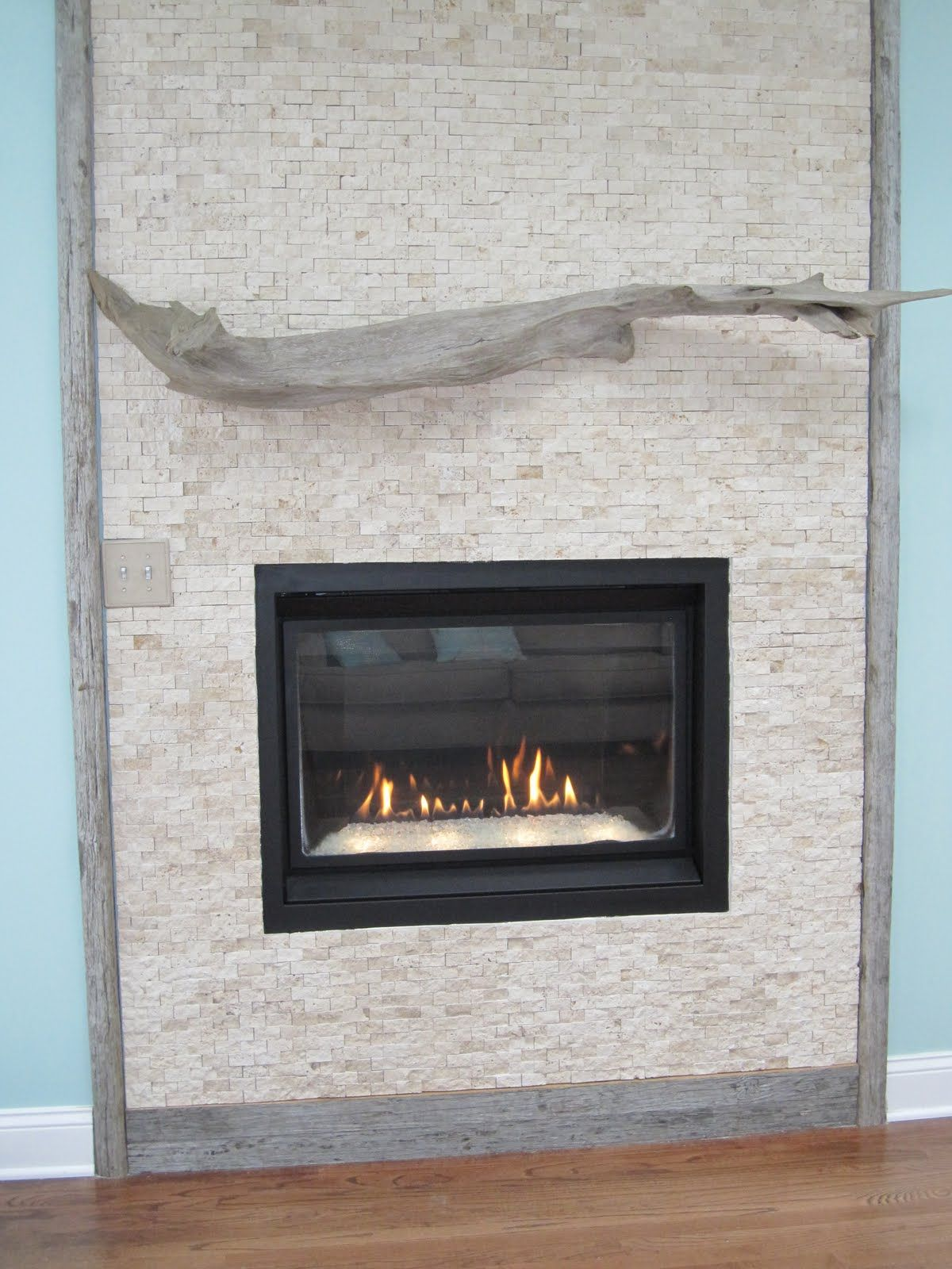 add a mantle to gas fireplace when we renovated our beach home