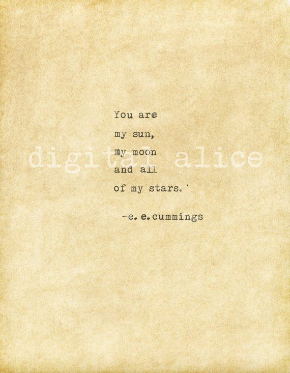 VINTAGE TYPEWRITER PRINT e.e.cummings Love Quote -Instant Download -printable quote -you are my sun,