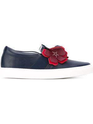floral appliqué slip-on sneakers