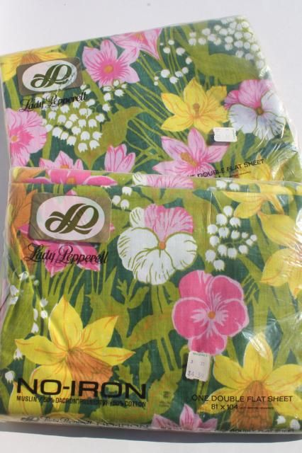 70s Vintage Bedding, Retro Lime Green U0026 Pink Flowered Print Fabric, New In  Package Bed Sheets