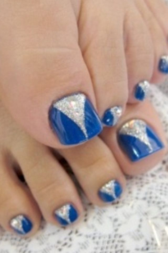 blue nail art | nails | Pinterest | Blue nails, Pedicures and Pedi