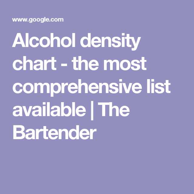alcohol density chart