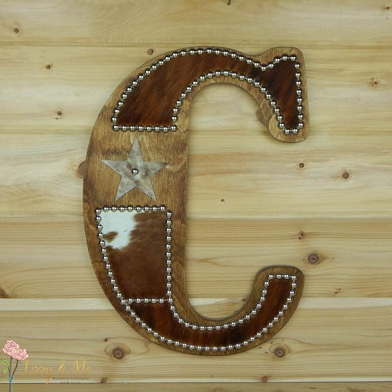 Letter C Wall Hanging Cowhide Wall Letter C  Made To Order Western Home Decor Wall