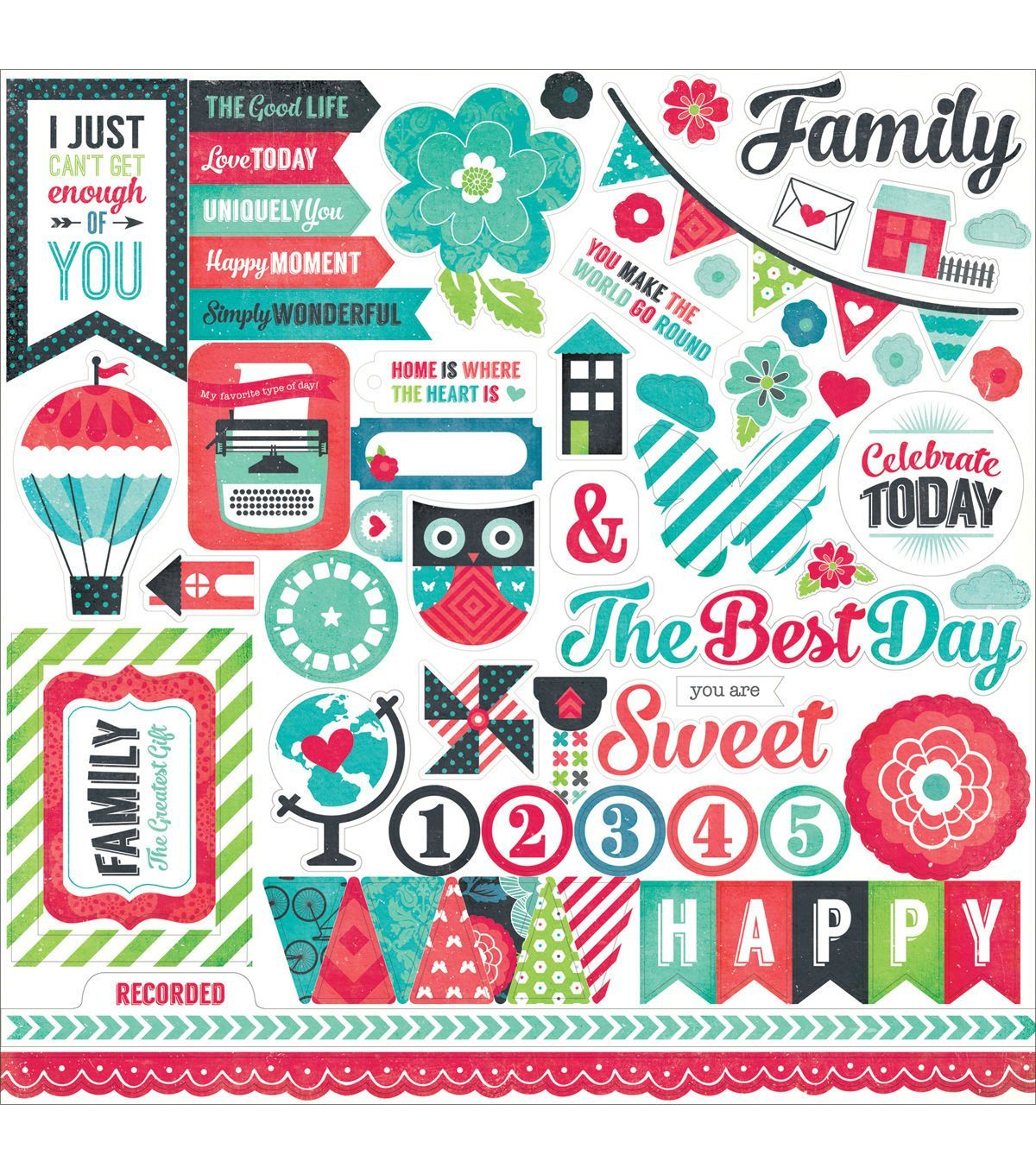 We Are Family Cardstock Stickers 12 X12 Element