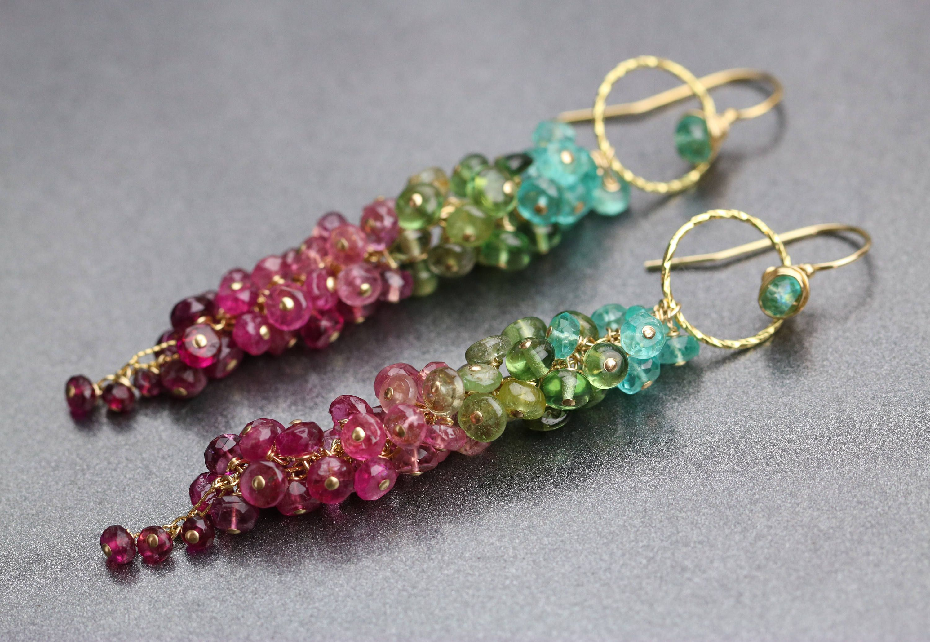 earrings colorful design filled necklace wrapped multi wire lagoon the in gemstone rainbow gold