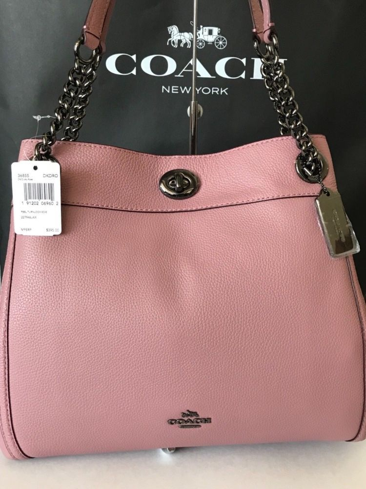 8c5c41b48a79 NWT COACH Edie Turnlock Shouldr Bag in DUSTY ROSE Pebbled Leather  36855   395