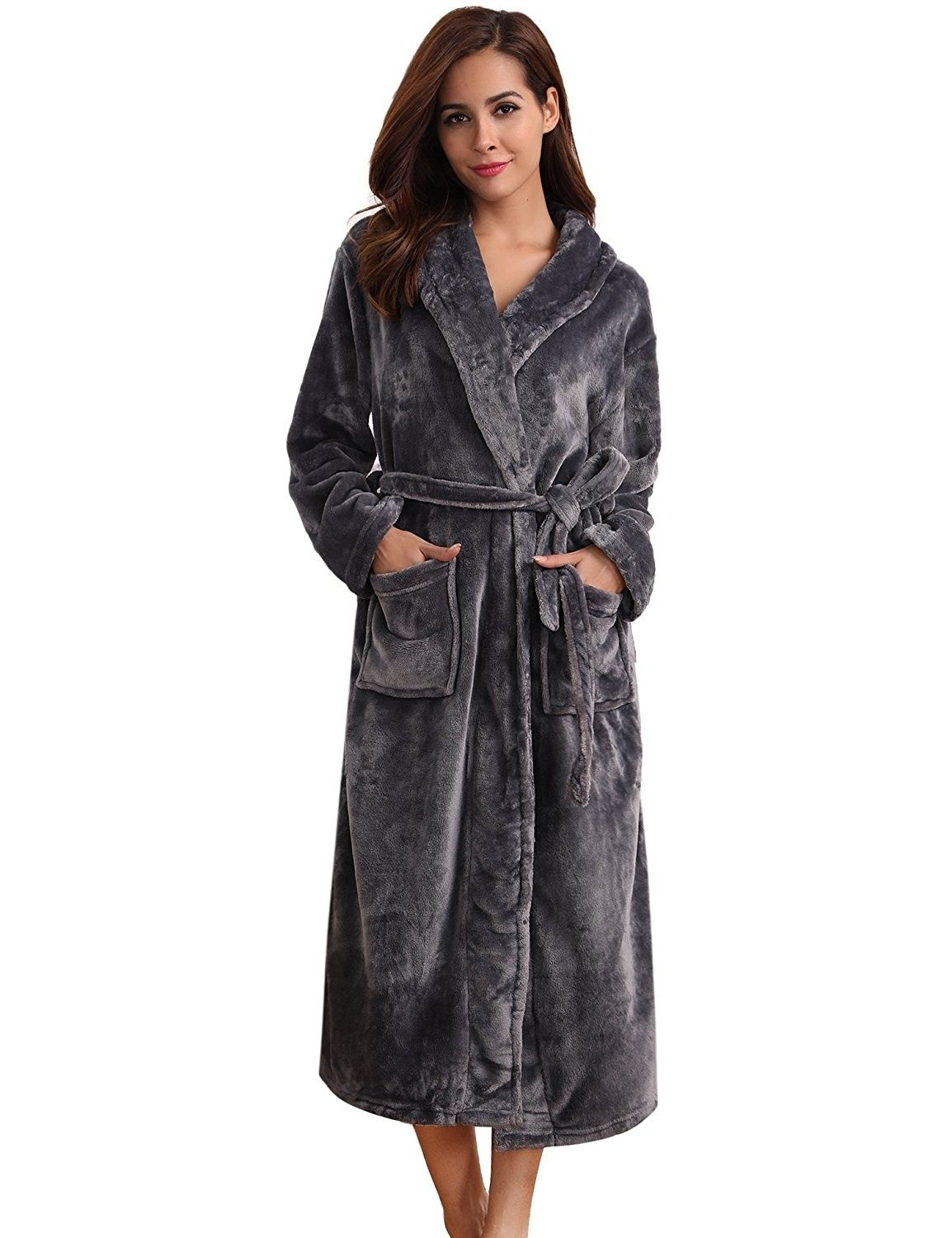 Women s Plush Soft Warm Coral Fleece Bathrobe Robes - Dark Grey ... 729f4ee01