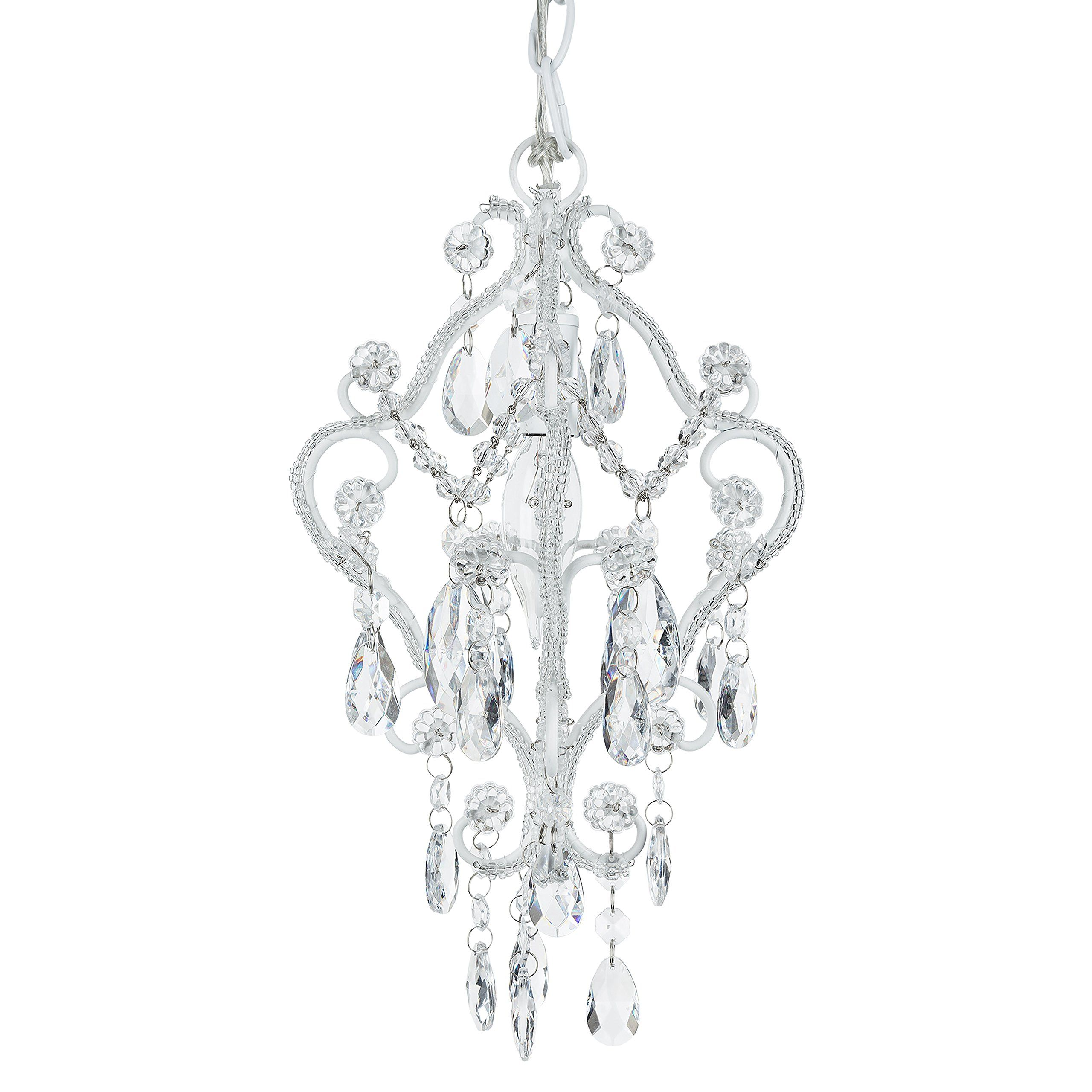 Tiffany Mini White 1 Light Chandelier Small Crystal Beaded Plug In