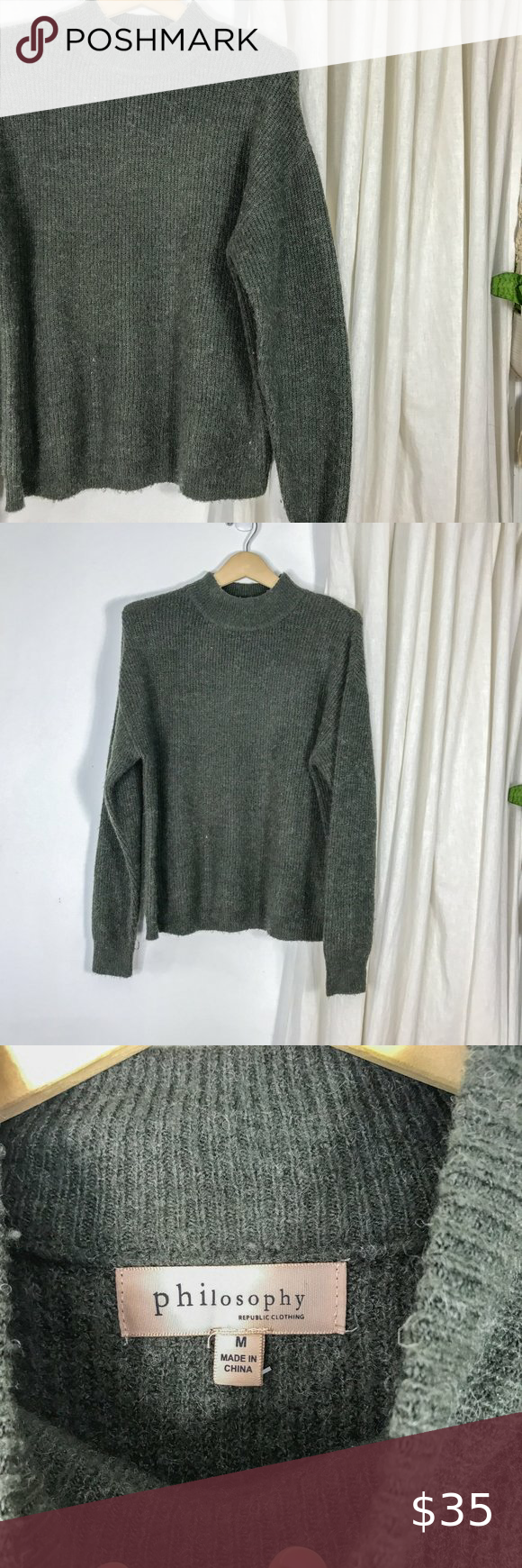 Philosophy Olive Green Mock Neck Sweater Pullover Philosophy Olive Green Mock Neck Sweater Pullover Styling Ribbe Mock Neck Sweater Mock Neck Pullover Styling