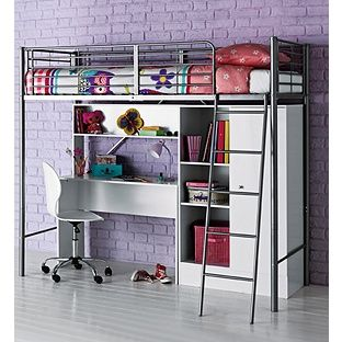 Buy Metal High Sleeper Bed Frame With Wardrobe And Desk