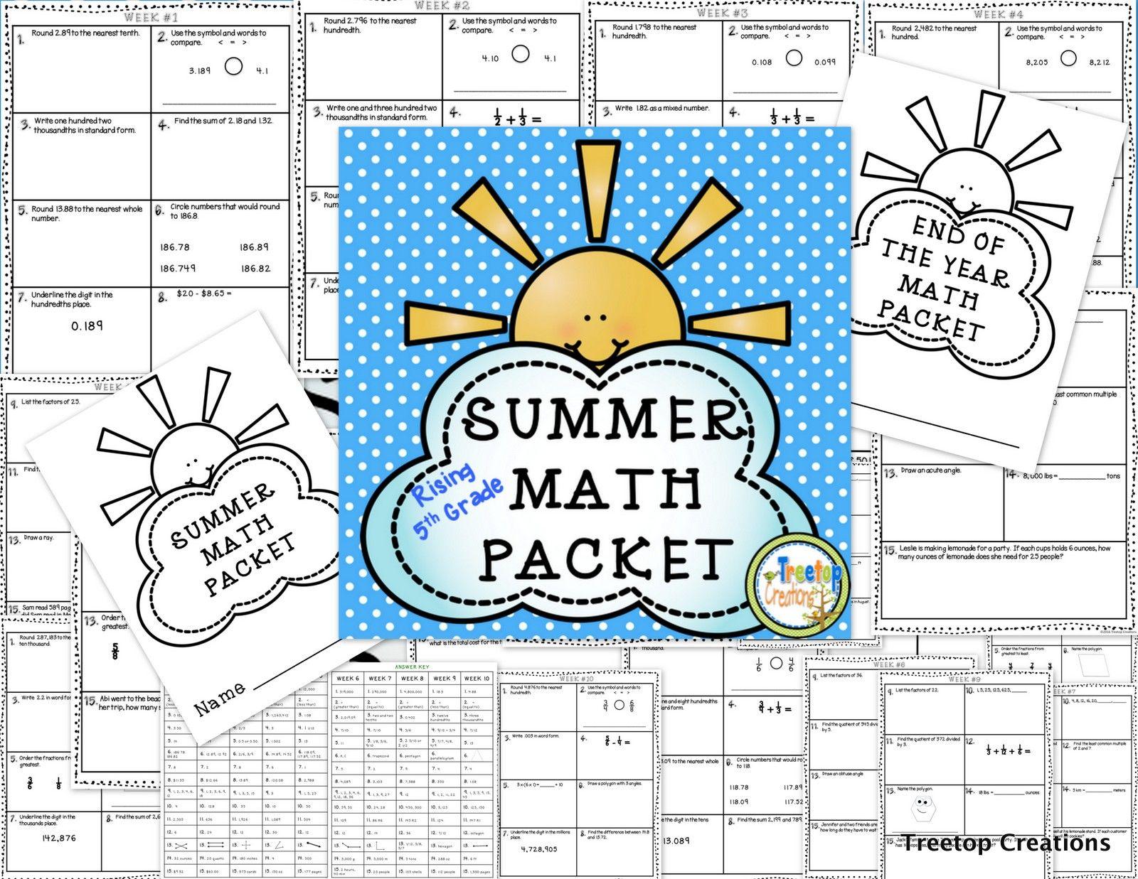 Summer Math Packet (rising 5th grade) | Math, Summer and Teacher pay ...