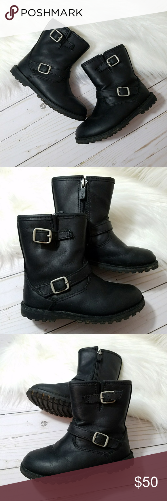 f8645ca9383 Toddler ugg harwell boots Toddler size 9 Black leather biker style ...
