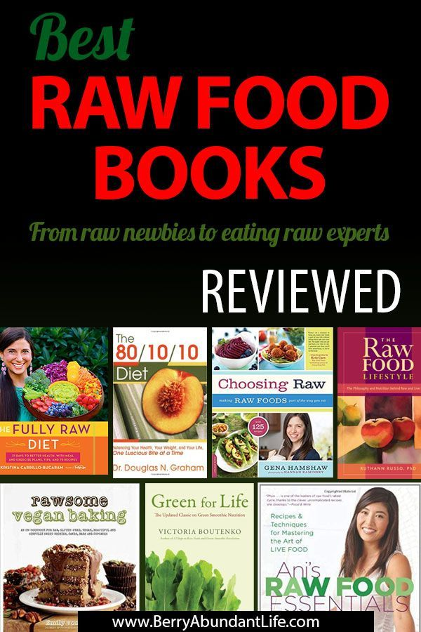 Raw Food Books Reviewed Here's 10 of my favorite raw food books full of tips, advice and the odd raw vegan cheesecake, that I'd recommend to anyone wanting to live a healthier, environmentally-friendly, cruelty-free life.Here's 10 of my favorite raw food books full of tips, advice and the odd raw veg...