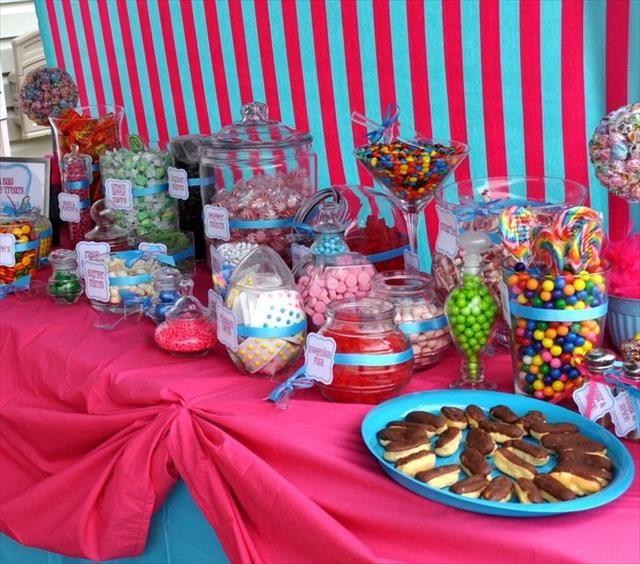 11 Diy Candy Party Decor Centerpiece Ideas Candy Buffet Candy Party Masquerade Party