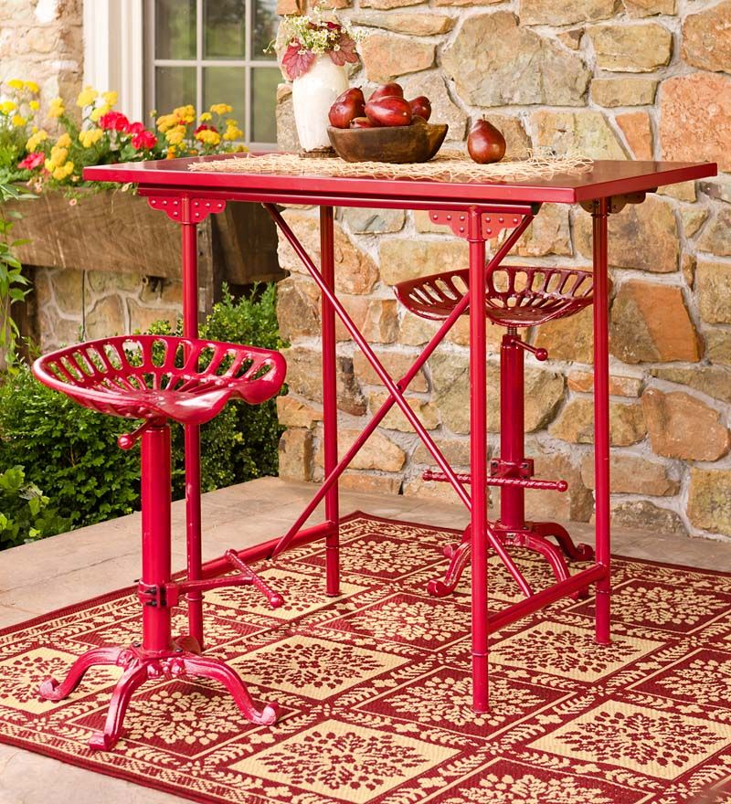 Rustic Metal Bar Table And Tractor Seat Stool Set