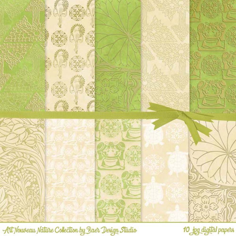 Gold and green Art Nouveau nature digital paper #digitalpaper #digitalscrapbookpaper #digitalbackgrounds #etsy #baerdesignstudio