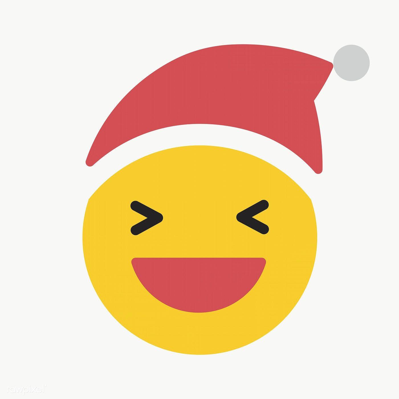 Download Premium Png Of Round Yellow Santa Slightly Smiling Emoticon On Hand Sticker Vector Background Pattern Emoticon
