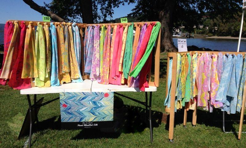 My Marbled Silk Scarves On Upcycled Crib Display Ellensue Com Craft Show Displays Scarf Racks Marblin Fair