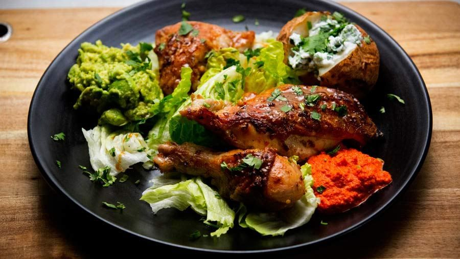 Tequila And Lime Chicken With Chilli Ginger Garlic Sauce And Baked Potato Recipe By