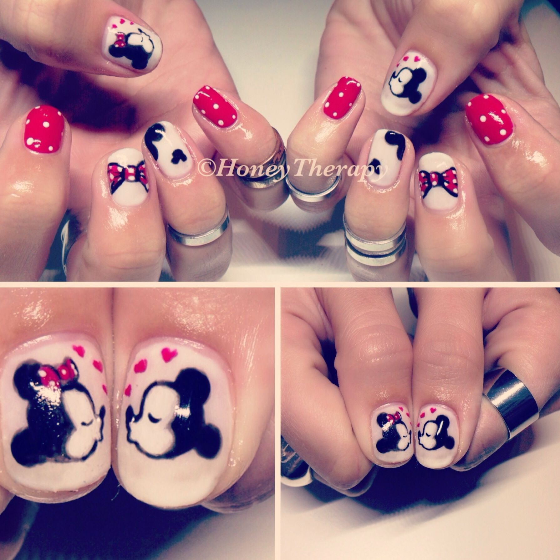 Disney cute shellac handpainted nail art. Mickey Mouse and Minnie ...
