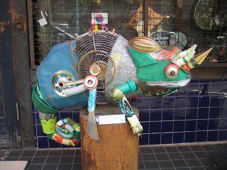 Fabulous garden junk art lizard