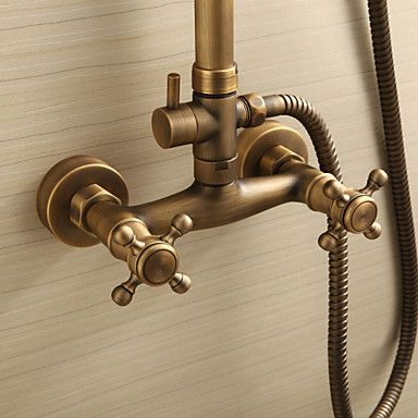 Antique Br Shower Faucet With 8 Inch