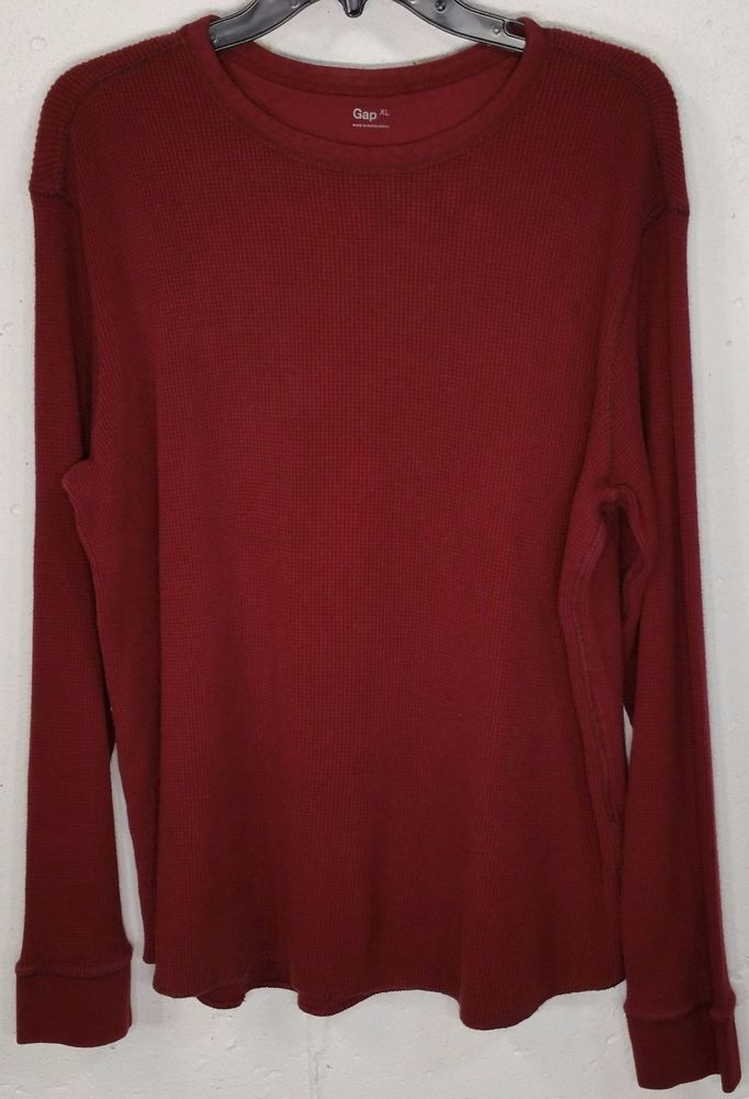 GAP Mens Burgundy Thick 100% Cotton Long Sleeve Waffle Thermal ...