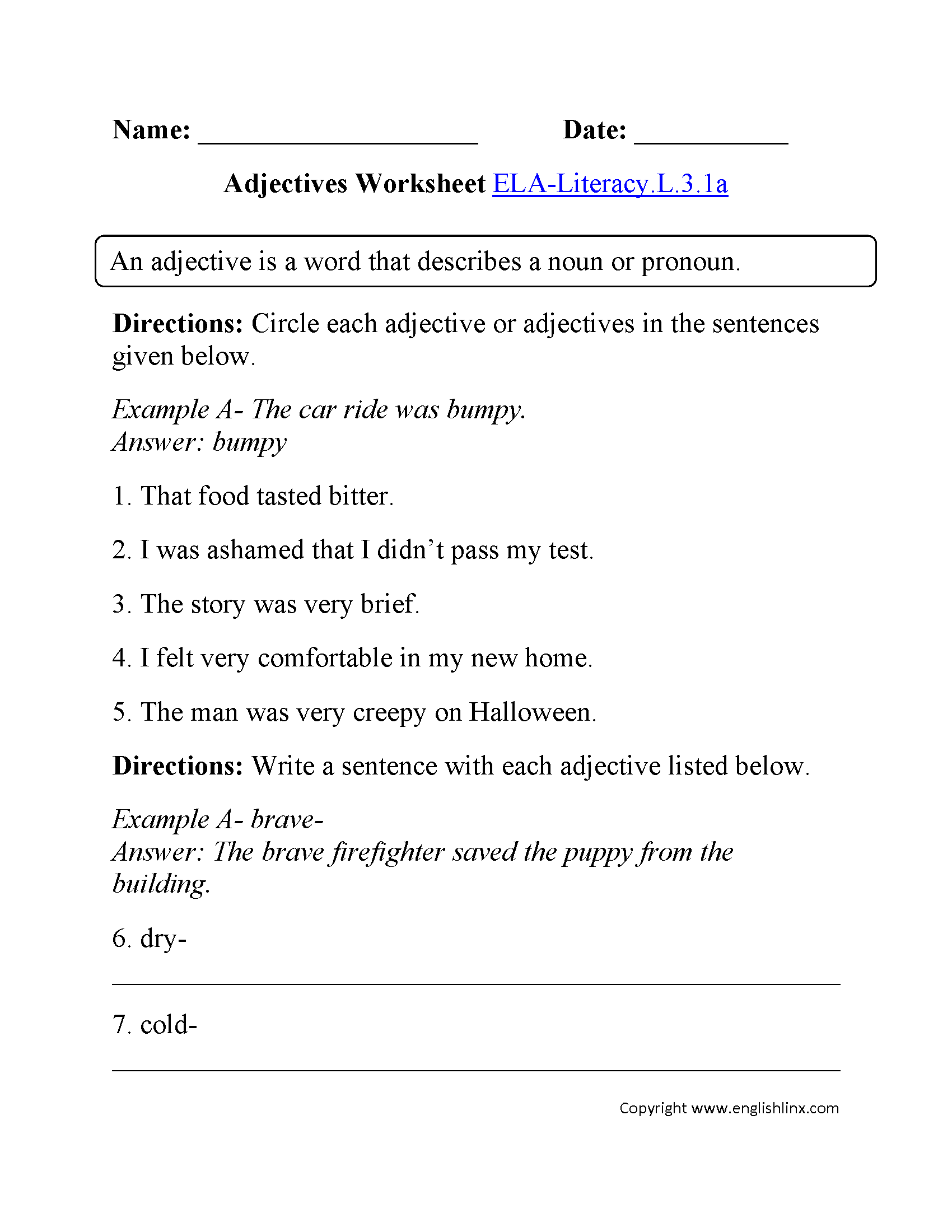 Adjectives Worksheet 2 Ela Literacy L 3 1a Language