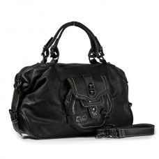 Leopard Design Handle/side Strap with Spikes Decoration Bag- Black $39.95
