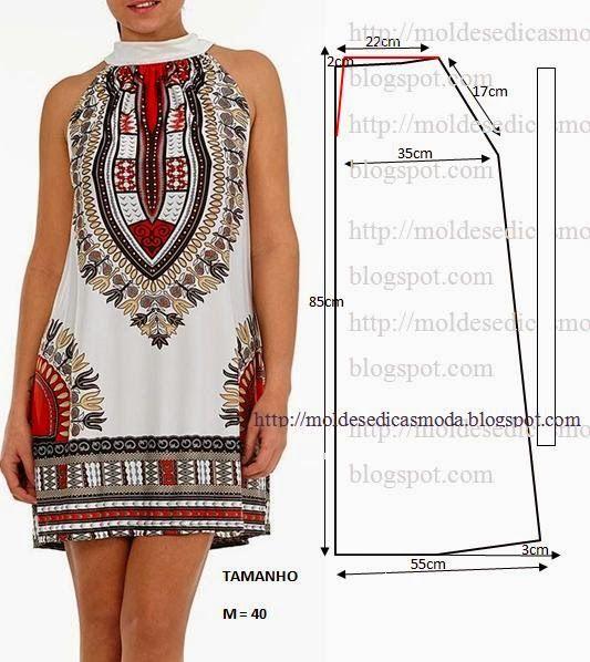 Vestido estampado étnico com passo a passo de corte e costura ...