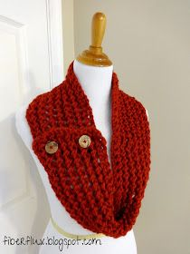 Fiber Flux...Adventures in Stitching: Free Knitting Pattern...Cinnabar Button Scarf!