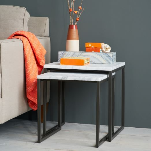 Box Frame Nesting Tables Marble Antique Bronze Modern Furniture Table Marble Living Room Table Nesting Tables