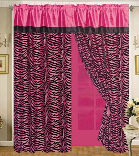 Zebra Hot Pink Curtains