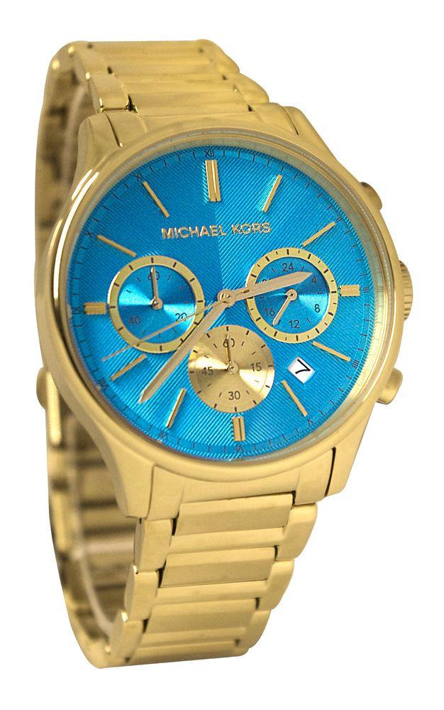 5871deafc475 Michael Kors MK5910 Bailey Chrono Blue Date Dial Gold Steel Band Women Watch  NEW