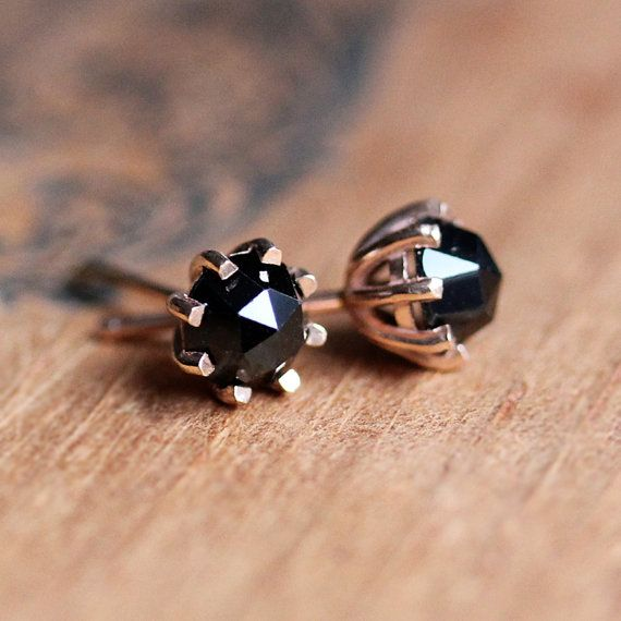 Black Spinel Stud Earrings Rose Gold Studs Cut By Metalicious