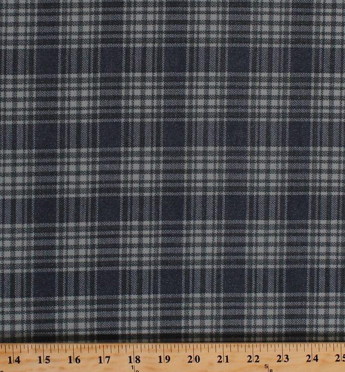 Velveteen-Finish Brushed Corduroy Plaid Checks Grey Slate Blue Fabric By the Yard (7281G-7L)