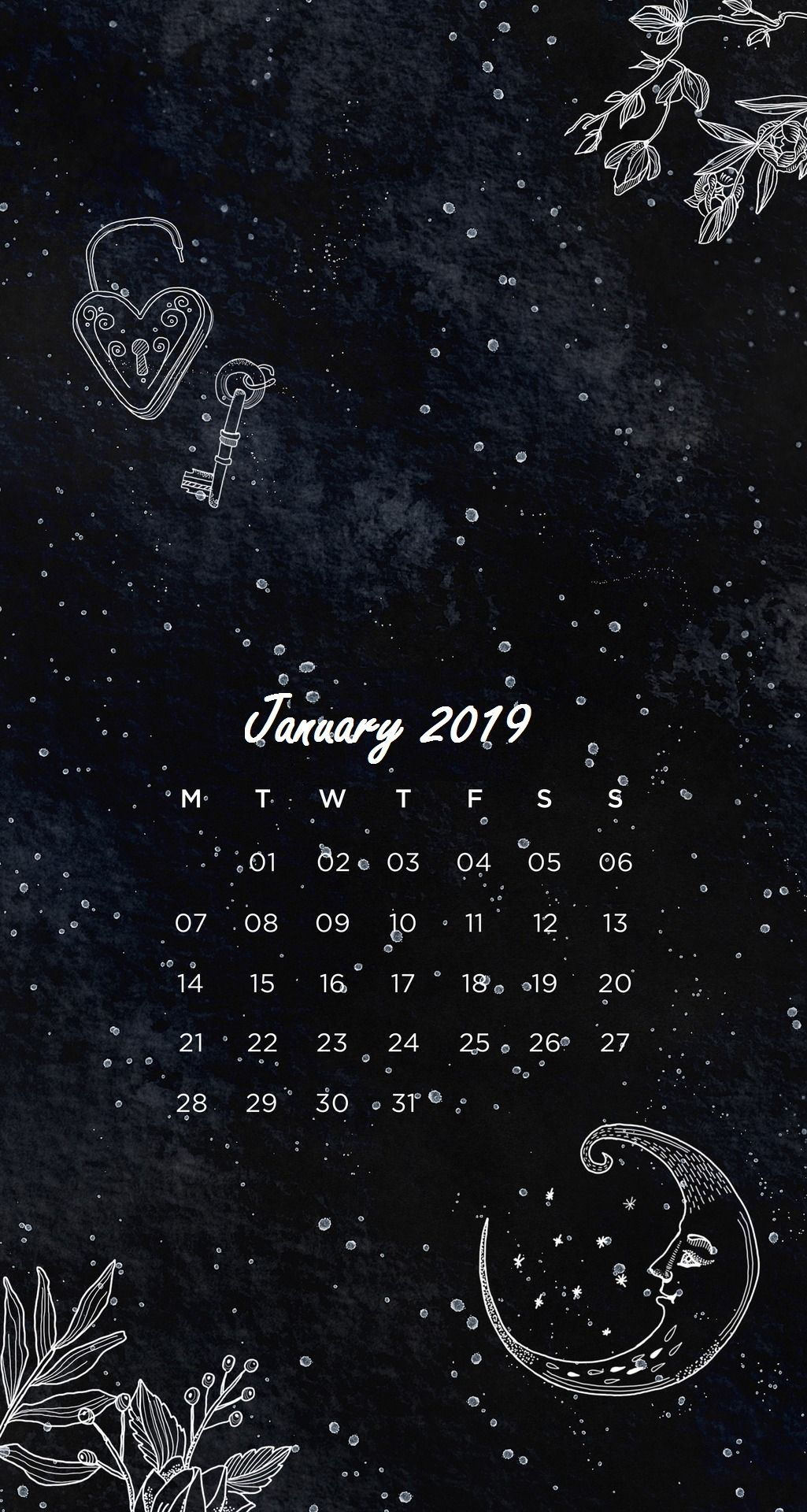 Cute Witchy Wallpapers Black Background January 2019 Iphone Calendar Calendar