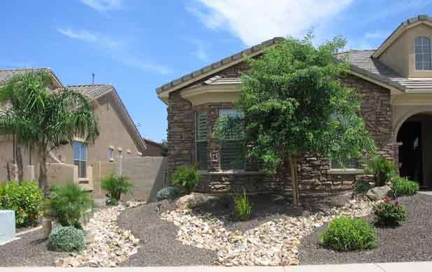 Arizona Desert Landscape Design With Riverbeds Rock Plants Desert Landscape Design Desert Landscaping Backyard Landscaping