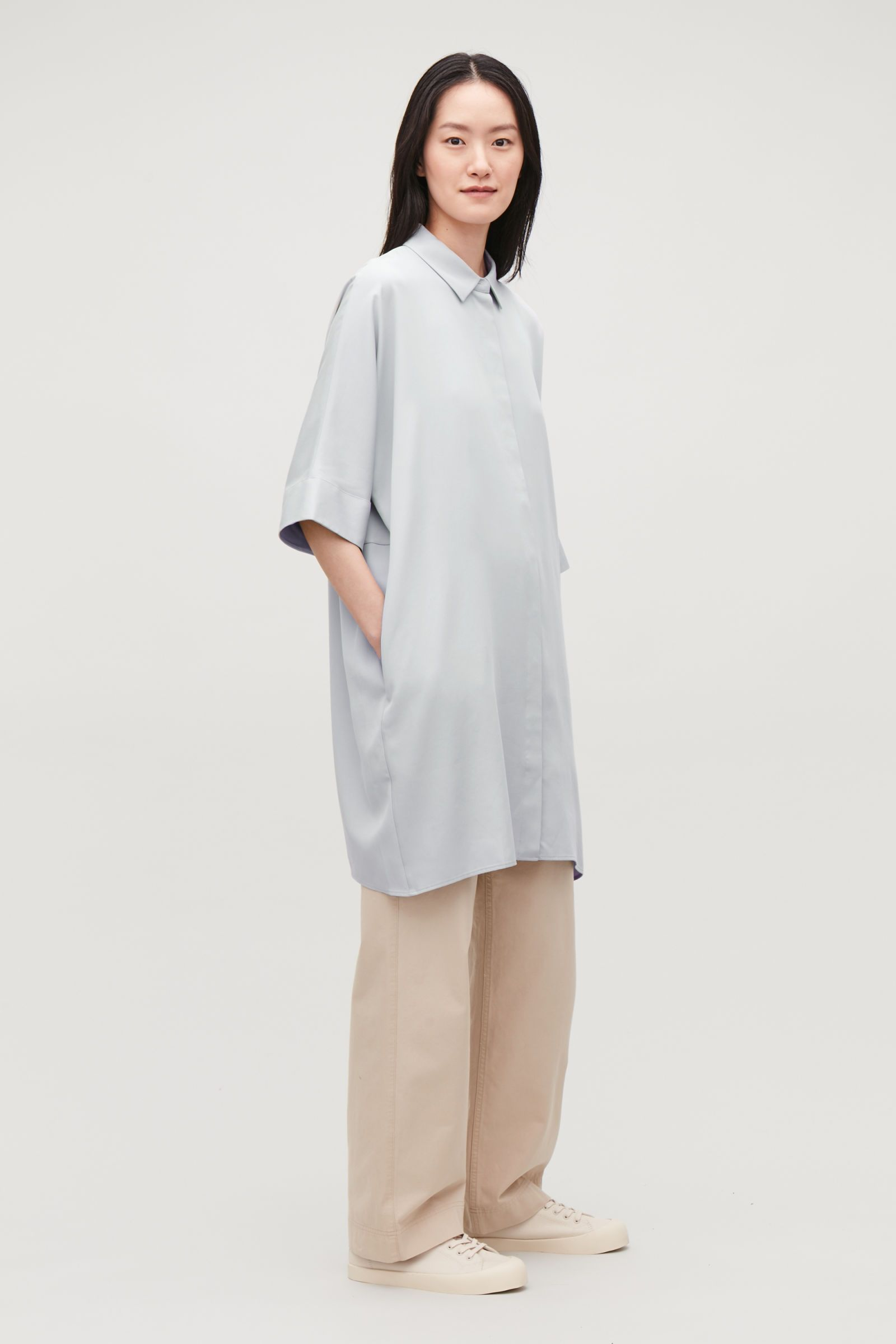 20df6abd2b96 COS | Draped boxy shirt dress | COS | A Story On... in 2019 ...